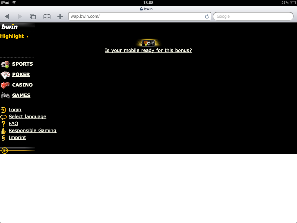 bwin website ipad